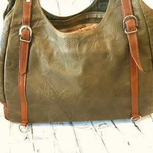 LRG GREEN LEATHER EMBOSSED TOTE FROM LEON MEXICO
